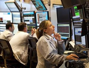 Traders on the floor of the New York Stock Exc...