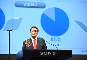 Sony new chief Kazuo Hirai speaks during a pre...