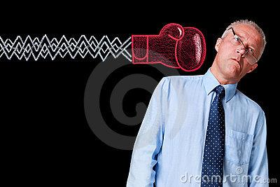 Mature Businessman Knockout Punch Royalty Free Stock Photo - Image: 21150255