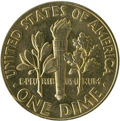 Toned Roosevelt Dime 1977 (reverse)