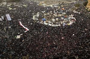 Thousands of Egyptian protesters gather for a ...