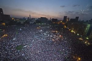 Egyptian protesters calling for the ouster of ...