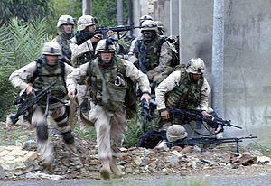 US Marines fight in the city of Fallujah durin...