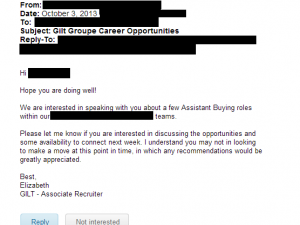 LinkedIn message from Gilt to former Fab Employee. Redacted to protect source's identity.