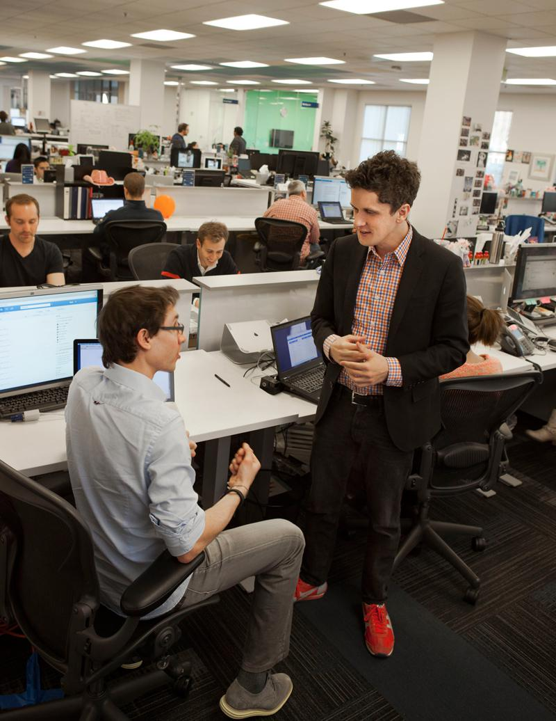 Box cofounders Dylan Smith and CEO Aaron Levie at right. (Credit: Michele Clement for Forbes)