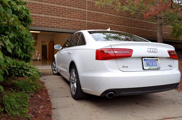 NVIDIA's Audi A6 entering the garage space at NVIDIA's Ann Arbor office