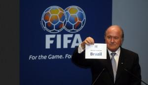FIFA's President Sepp Blatter announcing the Brazilian hosting of the 2014 World Cup in October 2007
