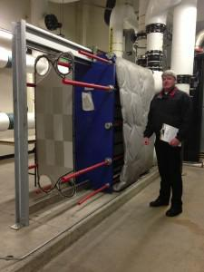 Dean Parker, Executive Director of Facilities at the Peppermill Reno, and the geothermal heat exchanger... (photo credit: Andrew Bender)