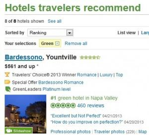 "Click on the ""green"" button on TripAdvisor's hotel search screen, and list of green properties comes... [+] up."