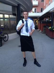 Train driver Martin Åkersten poses in a skirt, on May 31, 2013. (Photo credit: AP)