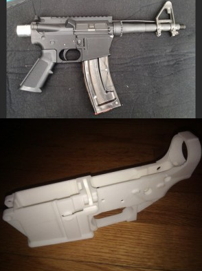 An AR-15 semiautomatic rifle and a 3D-printed lower receiver for the weapon shown below it. Both... [+] images were posted on Defense Distributed's website.