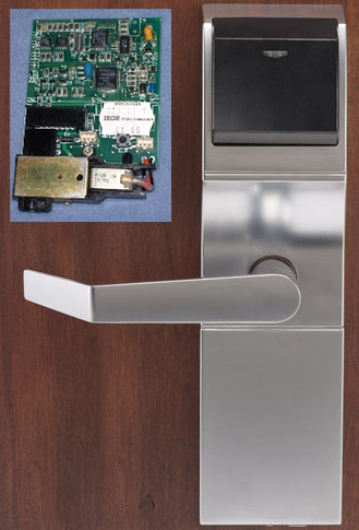 An Onity lock and (inset) the circuit board Onity has now offered to replace for a full... [+] reimbursement in many hotels' doors.