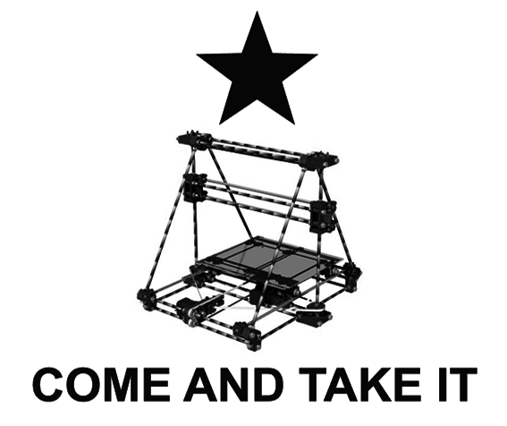 A poster Defense Distributed offered to anyone who donated $1,776 to their Wiki Weapon Project. The... [+] image is taken from an 1835 Texas Revolution flag that has become a favorite symbol of the National Rifle Association, with a RepRap 3D printer substituted for a cannon.
