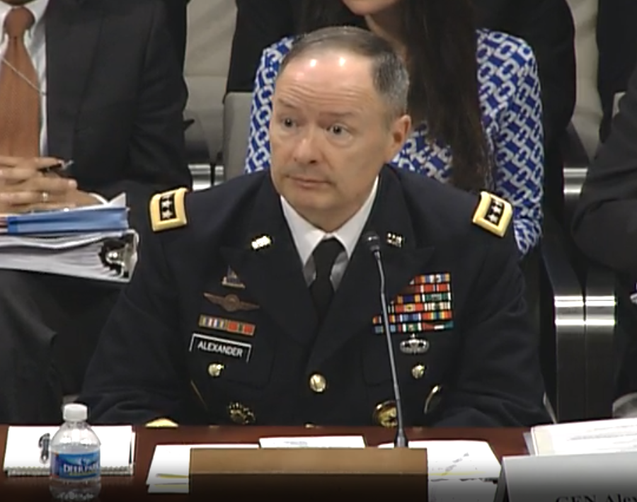 NSA director Keith Alexander speaking before Congress.