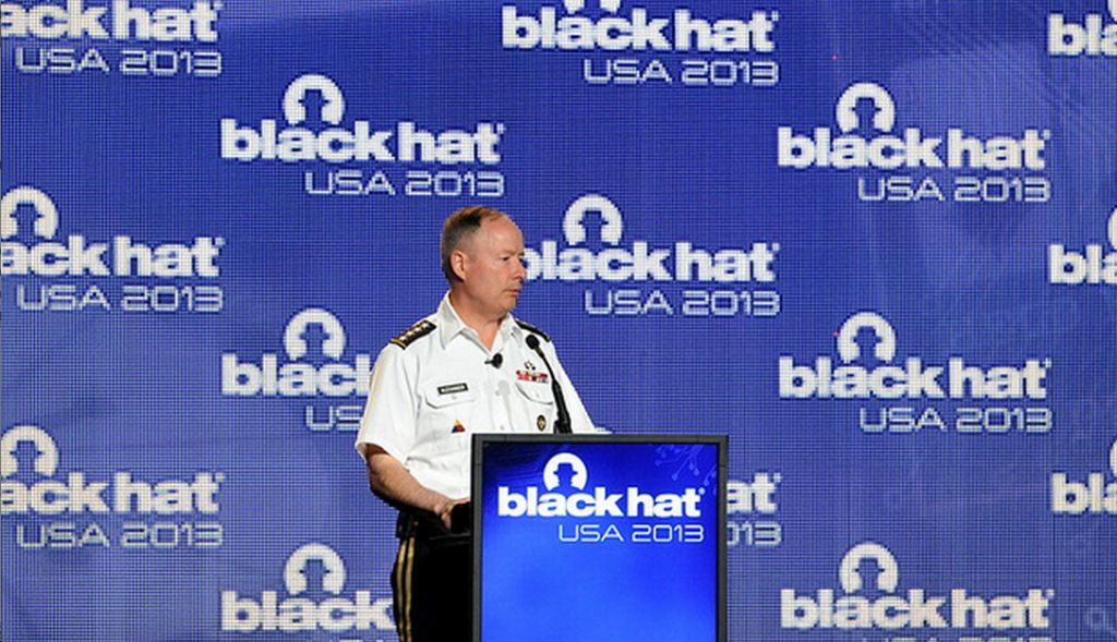 NSA director Keith Alexander giving the Black Hat conference keynote in Las Vegas.