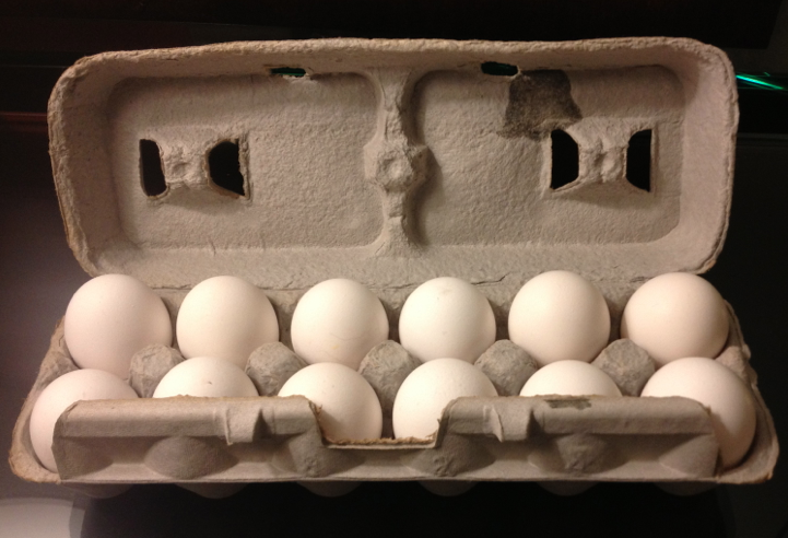 The last remaining dozen eggs left over from the failed egging plan after the other five cartons... [+] were confiscated by security guards.