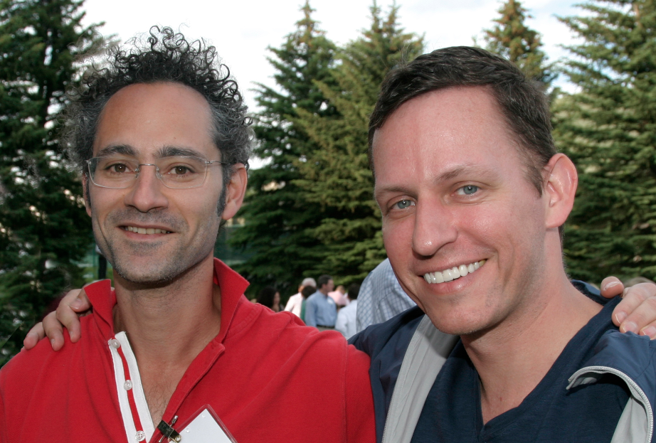 "Karp with billionaire co-founder Peter Thiel at the Sun Valley conference in 2009. ""No one was doing... [+] anything like Palantir,"" says Thiel, who believed from the beginning ""it was going to be as valuable as Facebook."" (Credit: Allen & Co.)"