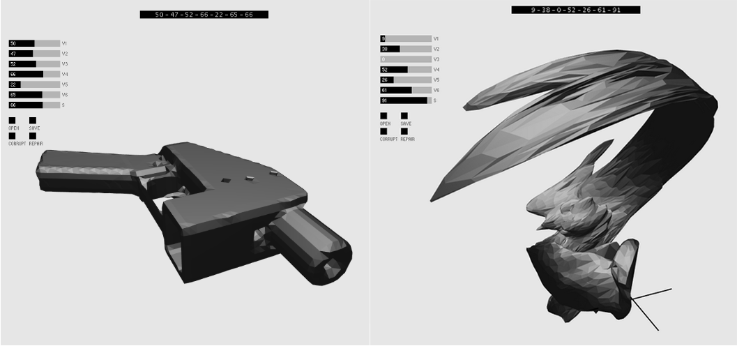 A 3D-printable gun file before distortion (left) and a file distorted by Disarming Corruptor.