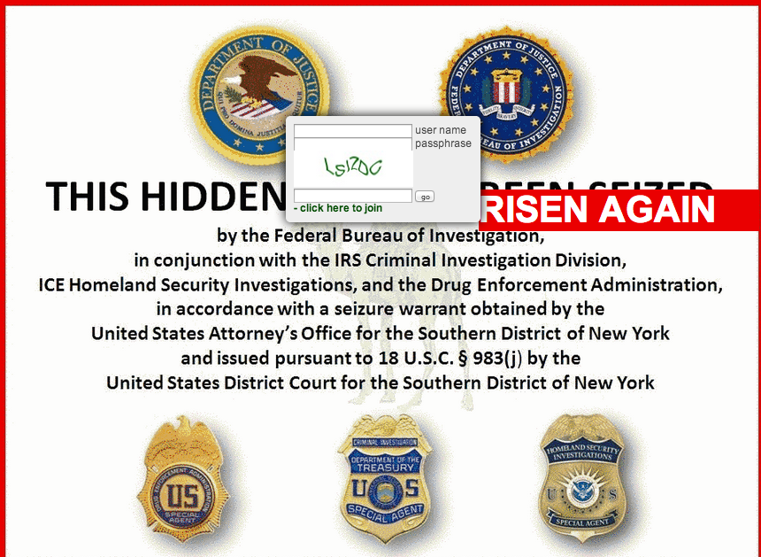 The new Silk Road's login page, poking fun at the Department of Justice's seizure notice posted to the original Silk Road.