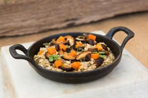 "A sunflower seed ""risotto"" with butternut squash and mushrooms, one of the more popular dinners... [+] during my visit"