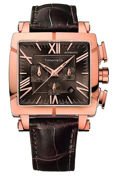Tiffany and Co Atlas Gent Square Chronograph in red gold - 2