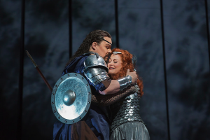 Mark Delavan as Wotan and Deborah Voigt as Brünnhilde Photo: Ken Howard/Metropolitan Opera