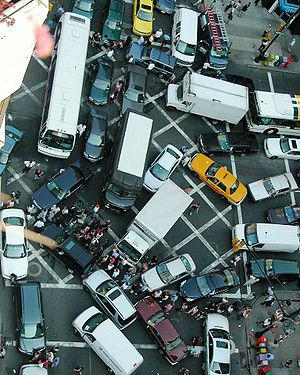 English: Gridlock resulting from vehicles and ...
