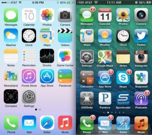 Here's a comparison of iOS6 to iOS 7: (source: http://osxdaily.com/2013/06/11/ios-7-vs-ios-6-visual-comparison/ )