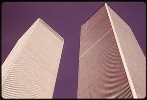 CLOSEUP OF THE WORLD TRADE CENTER TOWERS IN NE...