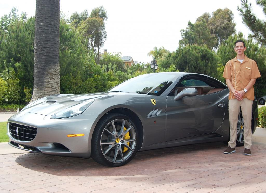 Dustin Acheson with a Ferrari at The Grand Del Mar, San Diego 'I'm a huge fan of suede'