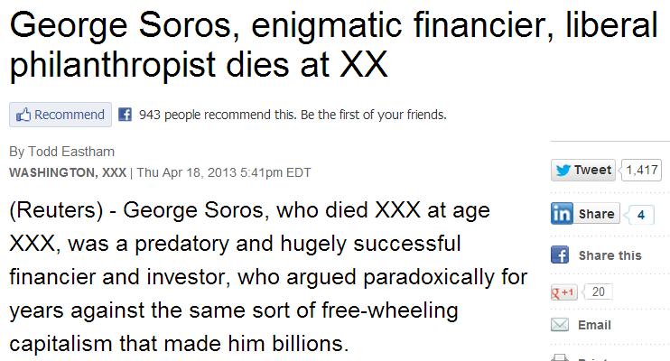 He's Not Dead! Reuters Publishes Premature Obituary Of George Soros