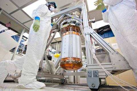 LUX researchers work on the interior of the dark matter detector