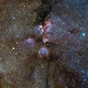 Some astronomers think life's handedness may have origins in radiation-rich star-forming regions... [+] like the Cat's Paw Nebula (NGC 6334) --- shown here in the near infrared. NGC 6334, a vast region of star formation about 5500 light-years from Earth in the constellation of Scorpius, remains one of the most active nurseries of massive young stars in our galaxy. Credit: ESO/J. Emerson/VISTA; Acknowledgment: Cambridge Astronomical Survey Unit