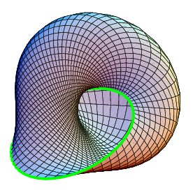 English: Mobius strip deformed to have a circu...