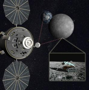 Concept of Lockeed Martin-built Orion vehicle above the Lunar Far Side.  Credit: Lockheed Martin.