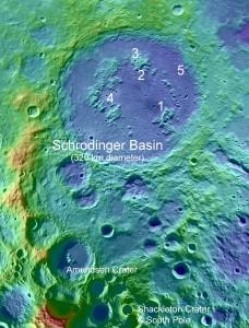 Five potential landing sites in the far side's Schrodinger Basin.  Credit:  David A. Kring