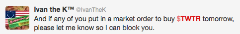 Twitter user comment on the eve of Twitter's IPO