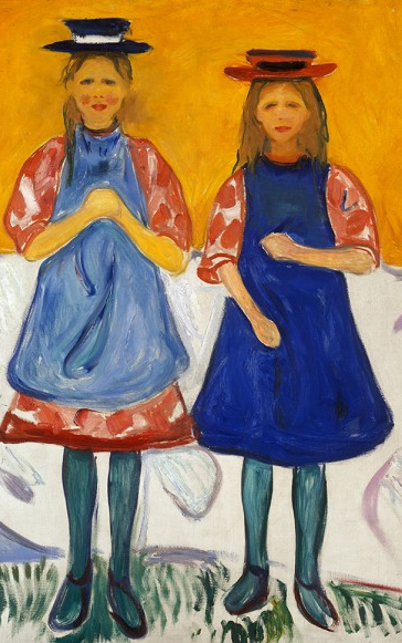 """Two Little Girls with Blue Aprons"" by Munch"