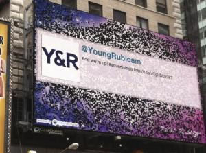 Times Square billboard commemorating Y&R's 90th birthday (Photo courtesy of Young & Rubicam)