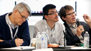 IBMC judges Steve Blank, Alex Osterwalder and Nathan Furr weighing in during final IBMC presentations at Harvard in 2013