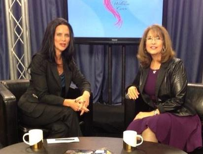 Wendy Darling (right) with host Terri Suresh, speaking on The Wellness Curve (image courgesy of Terri Surresh)