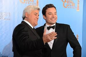 Comedians Jimmy Fallon (R) and Jay Leno arrive...