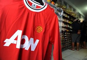 A Manchester United football jersey is display...