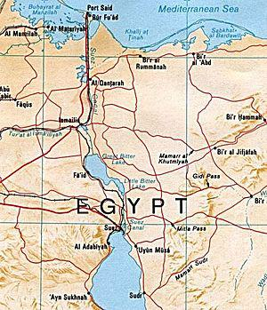English: Map of the Suez canal extracted from ...