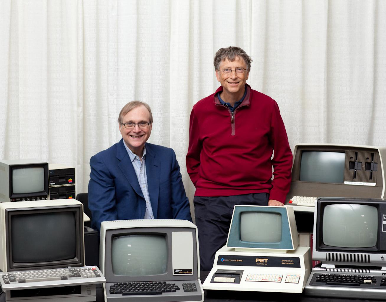 Microsoft founders Bill Gates and Paul Allen recreate an iconic 1981 shot of the pair posing among vintage computers. Taken April 2, 2013 at the Living Computer Museum in Seattle. Credit: Courtesy of the Living Computer Museum.