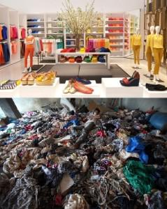 At top: Joe Fresh's Fifth Ave flagship in NY. Below: A rescue worker atop a pile of clothing after the collapse of Rana Plaza in Bangladesh. (Credit: AP)