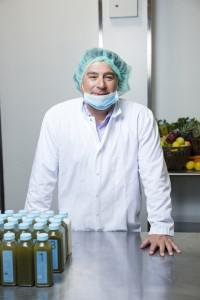 Hain Celestial CEO Irwin Simon inside the BluePrint Juice factory in Queens, NY.
