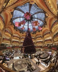 Galeries Lafayette's flagship on Blvd Haussmann in Paris is famously festive at this time of year.