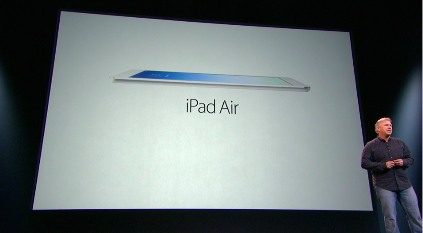 Apple's global marketing chief Phil Schiller unveils the thinner, lighter iPad Air tablet at an event in San Francisco today.