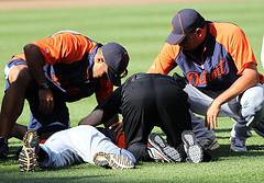 Like J.A. Happ, Detroit Tigers relief pitcher Al Alburquerque was hit in the head by a line drive